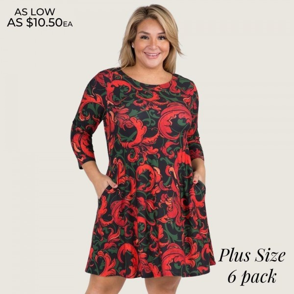 "Women's Plus Size Elegant Print A-Line Dress with Pockets.  • 3/4 length sleeves • Round neckline • Elegant swirl pattern • Two side pockets to keep your hands warm • A-line silhouette • Soft and comfortable fabric with stretch • Knee length hem • Pullover styling • Imported  - 6 Dresses Per Pack - 2-XL / 2-2XL / 2-3XL  - Approximately 34"" Long - 90% Polyester, 10% Spandex"