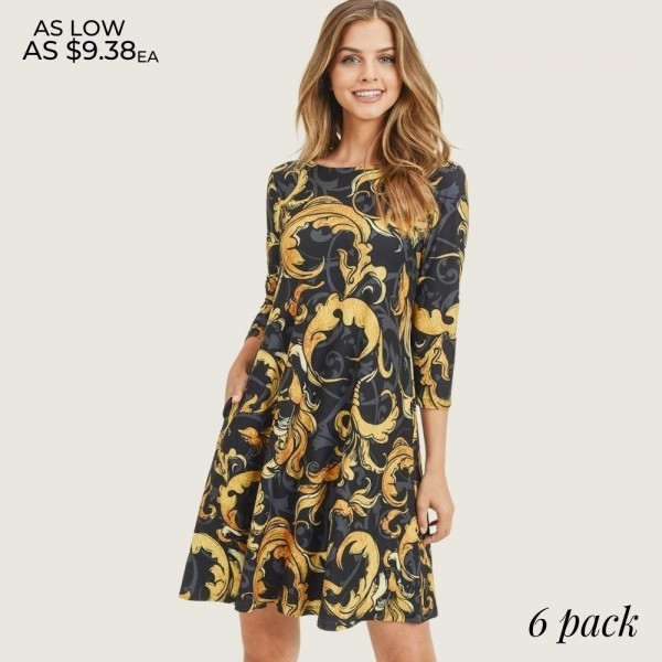 "Women's Elegant Print A-Line Dress with Pockets.  • 3/4 length sleeves • Round neckline • Elegant swirl pattern • Two side pockets to keep your hands warm • A-line silhouette • Soft and comfortable fabric with stretch • Knee length hem • Pullover styling • Imported  - 6 Dresses Per Pack - 2-S / 2-M / 2-L - Approximately 34"" Long - 90% Polyester, 10% Spandex"