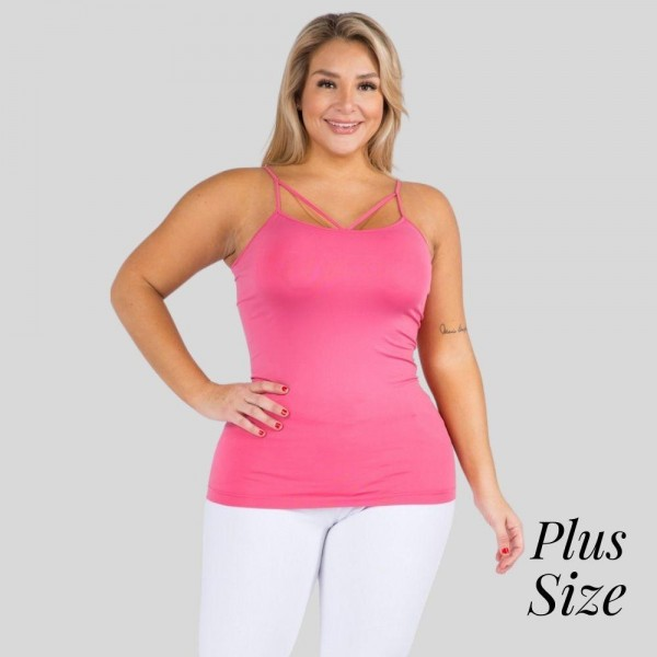 Women's Plus Size Seamless Criss-Cross Camisole.  • Strappy detail on front • Seamless design • Longline hem • Fits your body like a glove • Spaghetti Straps • Ultra Soft • Stretchy Knit • Machine Wash • Imported  - One size fits most 16-22 - 92% Nylon, 8% Spandex