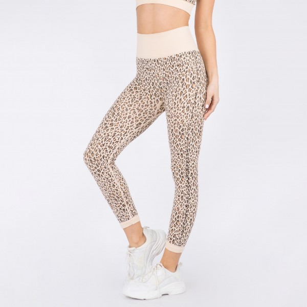 Women's Active Seamless Leopard Print Workout Leggings. (6 Pack)   • Ribbed elasticized high-rise waistband • Cheetah print design • Full length • Moisture wick fabric • 4-way stretch for a move-with-you feel • Seamless design • Triangle crotch gusset eliminates camel toe • Imported  - 6 Pair Per Pack - Size: 2-S / 2-M / 2-L  - 92% Nylon, 8% Spandex