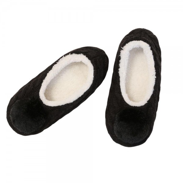 Do everything in Love Brand Faux Fur Pom Sock Slippers.  - Slip On - Sherpa Lined - Faux Fur Pom  - Indoor Use - Size S/M - 100% Acrylic & Polyester