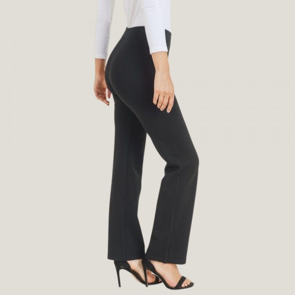 """Women's Large High Rise Flare Boot Cut Pants. (3 Pack) (Large Only)  • High rise elasticized waistband • Flare bootcut hem • Pull-up style • Comfortable fabric with stretch • Fits like a glove • Imported  - 3 Pair Per Pack - Size: Large Only - Inseam approximately 33"""" L - 65% Rayon, 30% Nylon, 5% Spandex  • High rise elasticized waistband • Flare bootcut hem • Pull-up style • Comfortable fabric with stretch • Fits like a glove • Imported"""