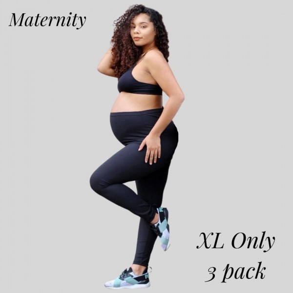 Women's Maternity Active Buttery Soft Workout Leggings. (3 Pack) XL ONLY  • Wide, high rise waistband lies flat against your skin • Interior waistband pocket can hold keys, cards, cash • Ultra buttery soft fabrication • Squat Proof • 4-way stretch for a move-with-you feel • Flat lock seams prevent chafing • Double inner leg seams for zero bagginess • Active Buttery Soft Full Length Leggings • Stretchy and comfortable  - 3 Pair Per Pack - Size: X-Large - 75% Nylon, 25% Spandex