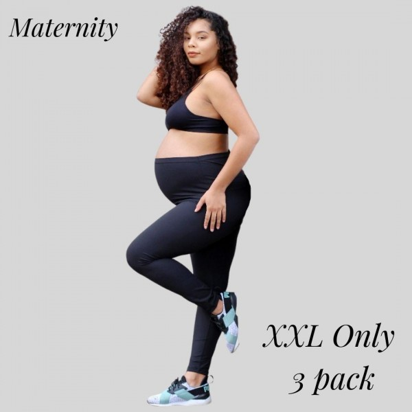 Women's Maternity Active Buttery Soft Workout Leggings. (3 Pack) XXL ONLY  • Wide, high rise waistband lies flat against your skin • Interior waistband pocket can hold keys, cards, cash • Ultra buttery soft fabrication • Squat Proof • 4-way stretch for a move-with-you feel • Flat lock seams prevent chafing • Double inner leg seams for zero bagginess • Active Buttery Soft Full Length Leggings • Stretchy and comfortable  - 3 Pair Per Pack - Size: XX-Large - 75% Nylon, 25% Spandex