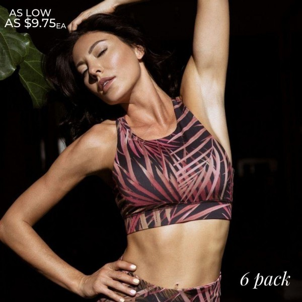Women's Active Jungle Palm Print Sports Bra. (6 Pack) (Sports Bra ONLY)  • High neckline • Reinforced band provides a supportive fit • Two removable cups for support & shaping • Racerback design • Moisture wick fabric • Stretchy and comfortable • Perfect for all of your favorite workouts • Great for low-medium impact workouts • Imported  - 6 Sports Bra's Per Pack - Size: 2-S / 2-M / 2-L  - Body: 46% Polyester, 41% Nylon, 13% Spandex - Lining: 80% Nylon, 20% Spandex, 75% Nylon, 25% Spandex