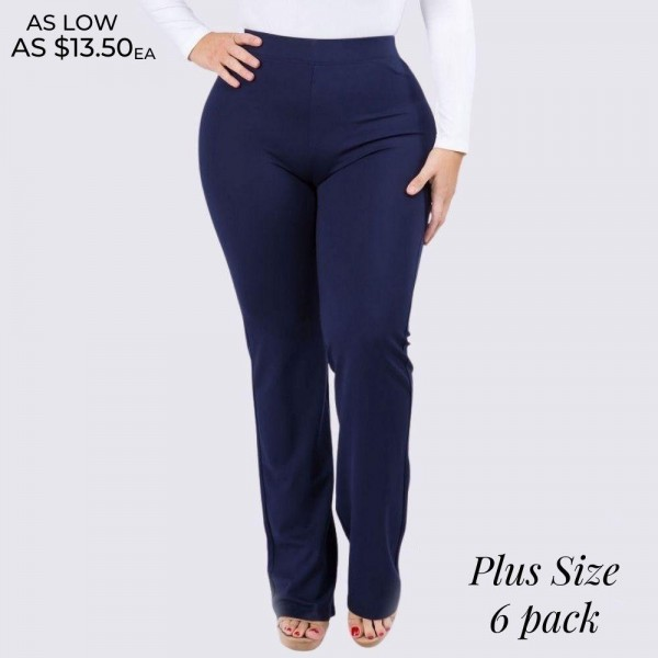 """Women's Plus Size High Rise Bootcut Flare Pants. (6 Pack)  • High rise elasticized waistband • Flare bootcut hem • Pull-up style • Comfortable fabric with stretch • Fits like a glove • Imported  - 6 Pair Per Pack - Sizes: 2-XL / 2-2XL / 2-3XL  - Inseam approximately 33"""" L - 65% Rayon, 30% Nylon, 5% Spandex"""