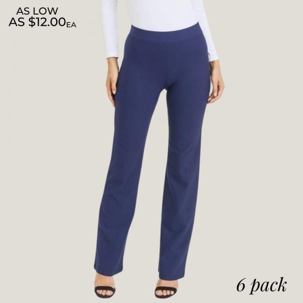"Women's High Rise Flare Bootcut Pants. (6 Pack)  • High rise elasticized waistband • Flare bootcut hem • Pull-up style • Comfortable fabric with stretch • Fits like a glove • Imported  - 6 Pair Per Pack - Size: 2-S / 2-M / 2-L  - Inseam approximately 33"" L - 65% Rayon, 30% Nylon, 5% Spandex"