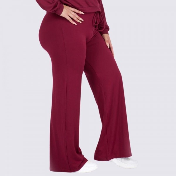 """Women's Plus Size Wide Leg Drawstring Lounge Pants. (6 Pack) (Pants ONLY)   • Drawstring high-rise waistband • Two pockets for keeping your hands warm • Wide leg silhouette • Soft and comfortable fabric with stretch • Comfortable, relaxed fit • Flare hem • Style with your favorite tee for a laid-back look • Soft and stretchy • Comfortable for lounging at home • Imported  - 6 Pair Per Pack - Sizes: 3-XL / 2-2XL / 1-3XL - Inseam approximately 29"""" L - 95% Polyester, 5% Spandex"""