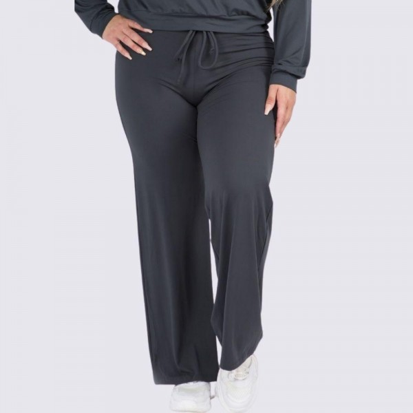 "Women's Plus Size Wide Leg Drawstring Lounge Pants. (6 Pack) (Pants ONLY)   • Drawstring high-rise waistband • Two pockets for keeping your hands warm • Wide leg silhouette • Soft and comfortable fabric with stretch • Comfortable, relaxed fit • Flare hem • Style with your favorite tee for a laid-back look • Soft and stretchy • Comfortable for lounging at home • Imported  - 6 Pair Per Pack - Sizes: 3-XL / 2-2XL / 1-3XL - Inseam approximately 29"" L - 95% Polyester, 5% Spandex"