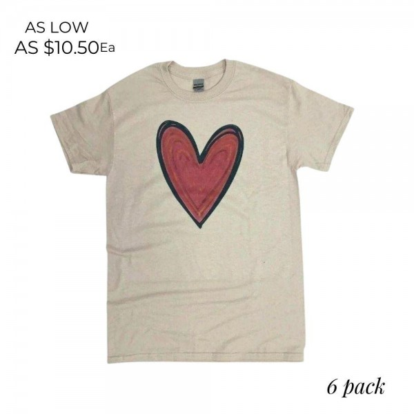Drawn Heart Graphic Tee.  - Printed on a Gildan Dryblend Brand Tee - Color: Stone  - 6 Shirts Per Pack - Sizes: 1-S / 2-M / 2-L / 1-XL  - 50% Cotton / 50% Polyester