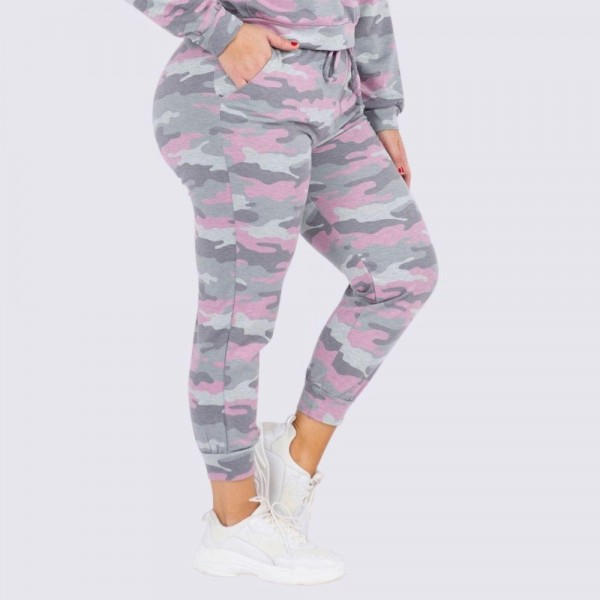"Women's Plus Size Vintage Camouflage Drawstring Joggers.  • Vintage camo print • Banded cuffs • Drawstring elasticize waistband • Two side pockets for keeping your hands warm • Relaxed fit • Soft and stretchy • Comfortable for lounging at home • Imported  - 6 Pair Per Pack - Sizes: 2-XL / 2-2XL / 2-3XL  - Inseam approximately 27"" L - 95% Polyester, 5% Spandex"