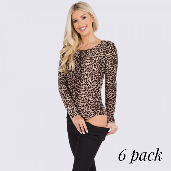 Women's Long Sleeve Cheetah Leopard Print Bodysuit. (6 Pack)  • Long sleeves • Crew neckline • Cheetah print • Soft and comfortable fabric with stretch • Pull on/off closure, no snaps on gusset • Fits like a glove • Imported  - 6 Per Pack - Sizes: 2-S / 2-M / 2-L  - 95% Polyester / 5% Spandex