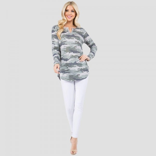 "Women's Long Sleeve Vintage Camouflage Split V-Neck Tunic Top. (6 Pack)  • Long sleeves • Split neckline • Round hem • Soft, breathable, cotton-blend fabrication • Imported  - 6 Shirts Per Pack - Sizes: 2-S / 2-M / 2-L  - Approximately 29"" L - 80% Polyester / 16% Cotton / 4% Spandex"