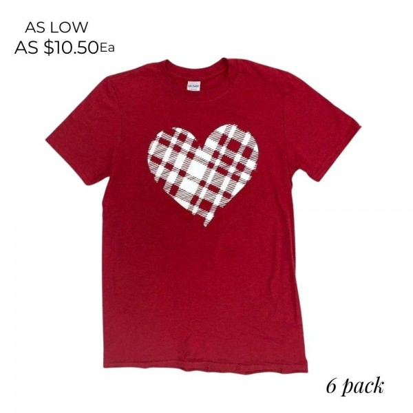 Plaid Heart Graphic Tee.  - Printed on a Gildan Softsyle Brand Tee - Color: Red - 6 Shirts Per Pack - Sizes: 1-S / 2-M / 2-L / 1-XL - 90% Cotton / 10% Polyester