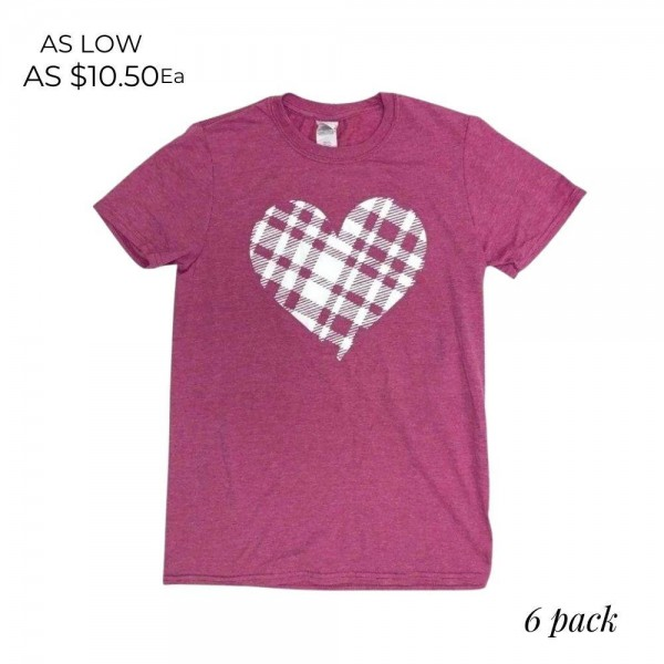 Plaid Heart Graphic Tee.  - Printed on a Gildan Softstyle Brand Tee - Color: Berry - 6 Shirts Per Pack - Sizes: 1-S / 2-M / 2-L / 1-XL - 65% Polyester / 35% Cotton
