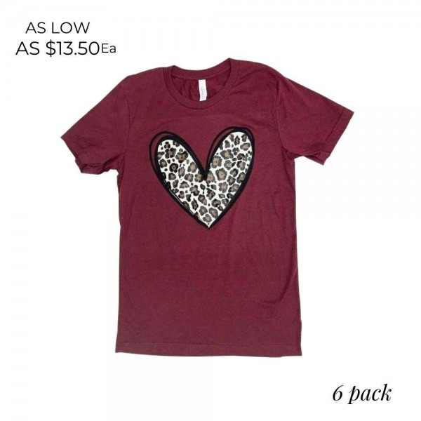 Leopard Print Heart Graphic Tee.  - Printed on a Bella Canvas Brand Tee - Color: Maroon - 6 Shirts Per Pack - Size: 1-S / 2-M / 2-L / 1-XL - 52% Cotton / 48% Polyester