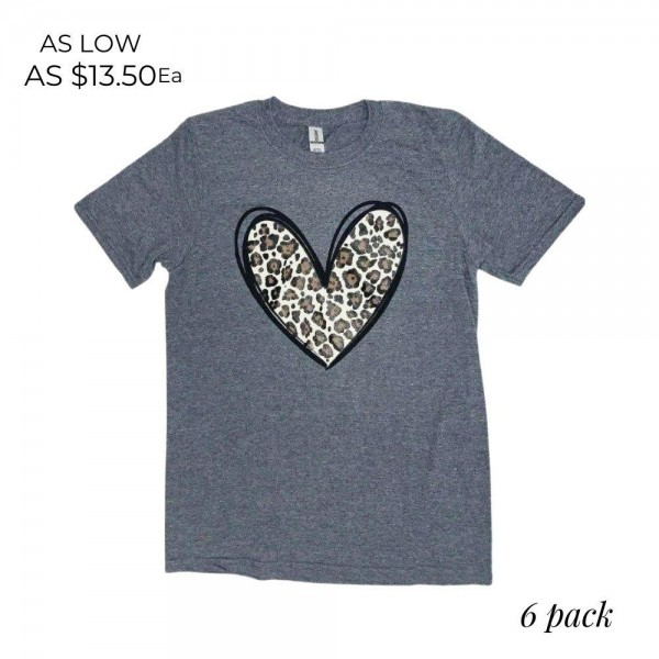 Leopard Print Heart Graphic Tee.  - Printed on a Gildan Softstyle Brand Tee - Color: Dark Grey - 6 Shirts Per Pack - Size: 1-S / 2-M / 2-L / 1-XL - 65% Polyester / 35% Cotton
