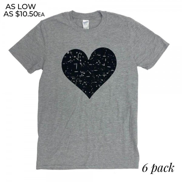 Distressed Heart Graphic Tee.  - Printed on a Gildan Softstyle Ring-spun Brand Tee - Color: Grey - 6 Shirt Per Pack - Sizes: 1-S / 2-M / 2-L / 1-XL - 90% Cotton / 10% Polyester