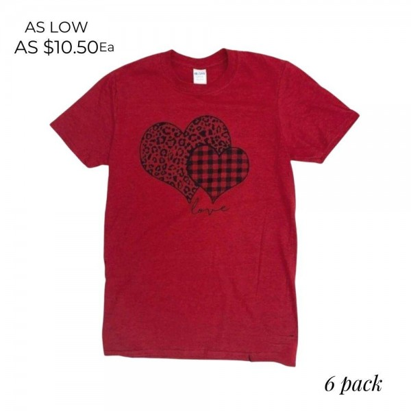 Plaid Leopard Print Heart Graphic Tee.  - Printed on a GIldan Softstyle Ring-Spun Brand Tee - Color: Red - 6 Shirts Per Pack - Sizes: 1-S / 2-M / 2-L / 1-XL - 90% Cotton / 10% Polyester