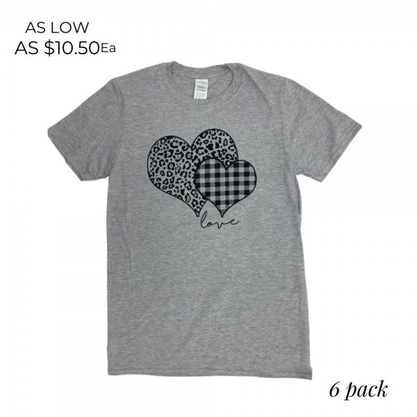 Plaid Leopard Print Heart Graphic Tee.  - Printed on a Gildan Softstyle Ring-Spun Brand Tee - Color: Grey - 6 Shirts Per Pack - Sizes: 1-S / 2-M / 2-L / 1-XL - 90% Cotton / 10% Polyester