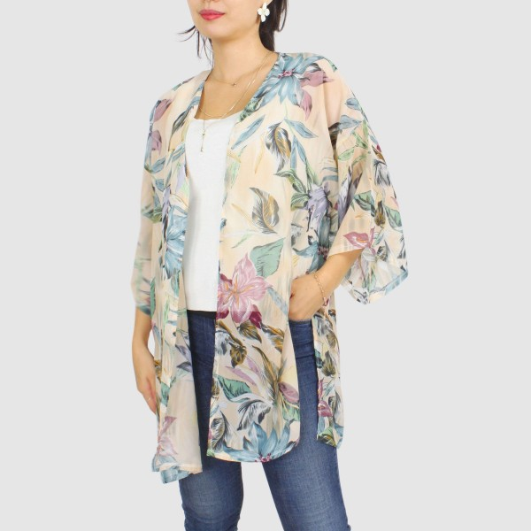"Women's Lightweight Vintage Tropical Floral Print Kimono.  - One size fits most 0-14 - Approximately 35"" L  - 100% Polyester"