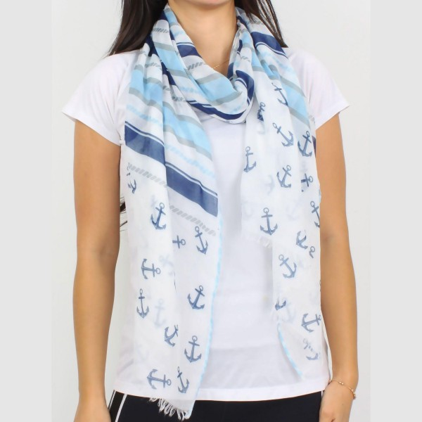 "Lightweight Anchor Print Scarf.   - 100% Polyester  - Approximately 60"" x 27"""