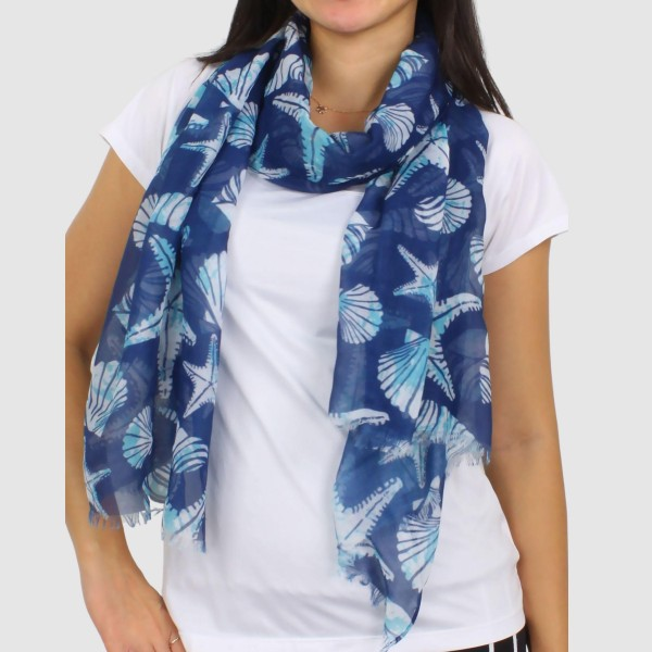 "Lightweight Starfish Print Scarf.   - Approximately 60"" x 27"" - 100% Polyester"