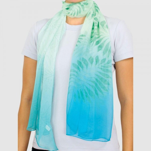 Wholesale women s Lightweight Ombre Leaf Chiffon Scarf Polyester