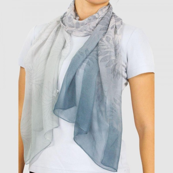 "Women's Lightweight Ombre Leaf Chiffon Scarf.  - Approximately 27.5"" x 27.5""  - 100% Polyester"