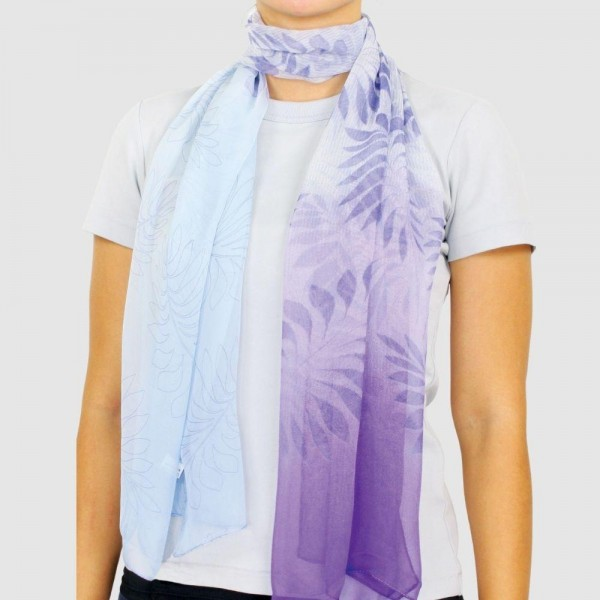 """Women's Lightweight Ombre Leaf Chiffon Scarf.  - Approximately 27.5"""" x 27.5""""  - 100% Polyester"""
