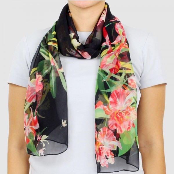 "Women's Lightweight Floral Print Chiffon Scarf.  - Approximately 18.75"" W x 63"" L  - 100% Polyester"