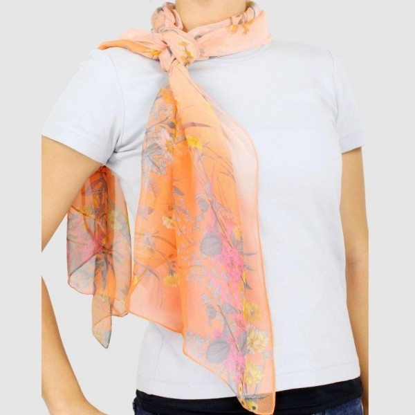 "Women's Lightweight Flower Chiffon Scarf.  - Approximately 18.75"" W x 63"" L - 100% Polyester"