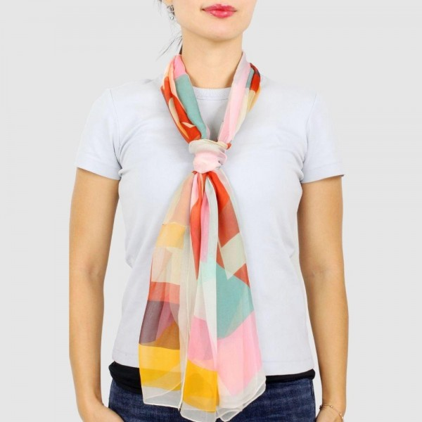 "Women's Lightweight Multicolor Geometric Chiffon Scarf.  - Approximately 18.75"" W x 63"" L - 100% Polyester"