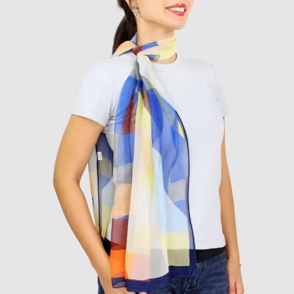"""Women's Lightweight Multicolor Geometric Chiffon Scarf.  - Approximately 18.75"""" W x 63"""" L - 100% Polyester"""