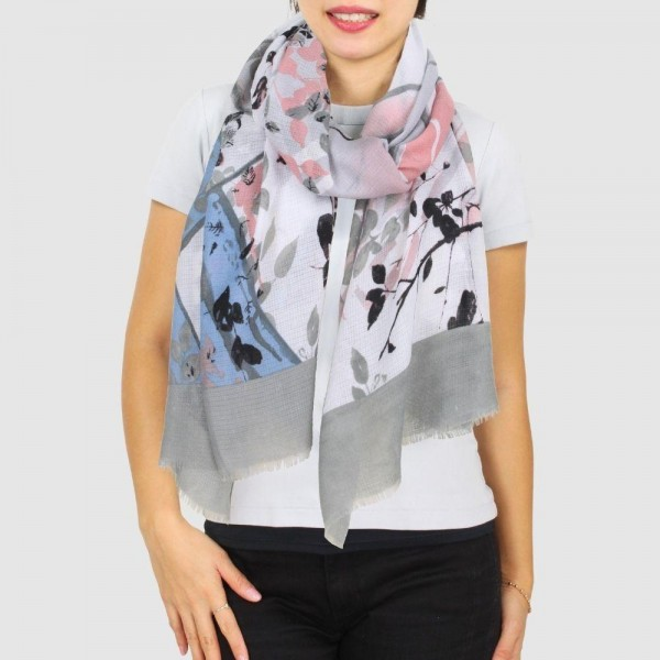 """Women's Lightweight Floral Print Scarf.  - Approximately 27.5"""" W x 70"""" L - 100% Polyester"""