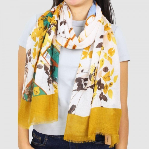 "Women's Lightweight Floral Print Scarf.  - Approximately 27.5"" W x 70"" L - 100% Polyester"