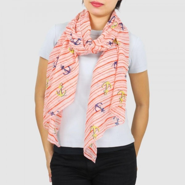 "Women's Lightweight Anchor Stripe Print Scarf.  - Approximately 31.5"" W x 70.5"" L - 100% Polyester"