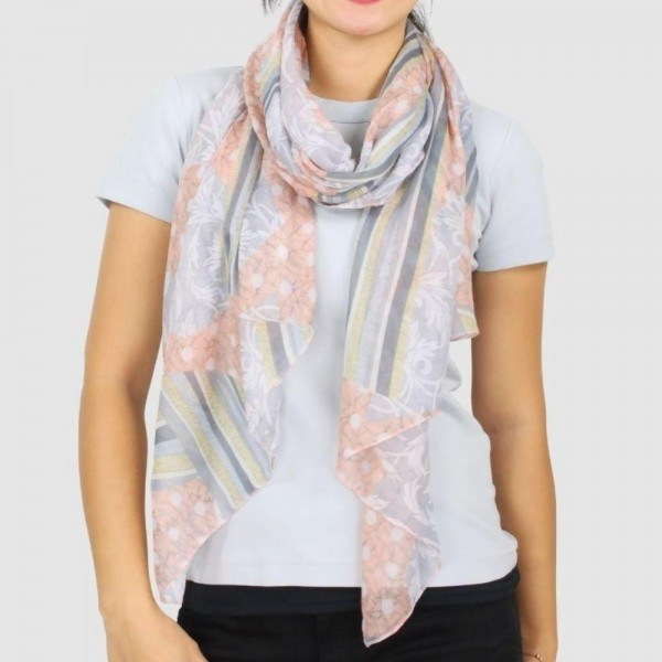 "Women's Lightweight Abstract Print Scarf.  - Approximately 27"" W x 70"" L - 100% Polyester"