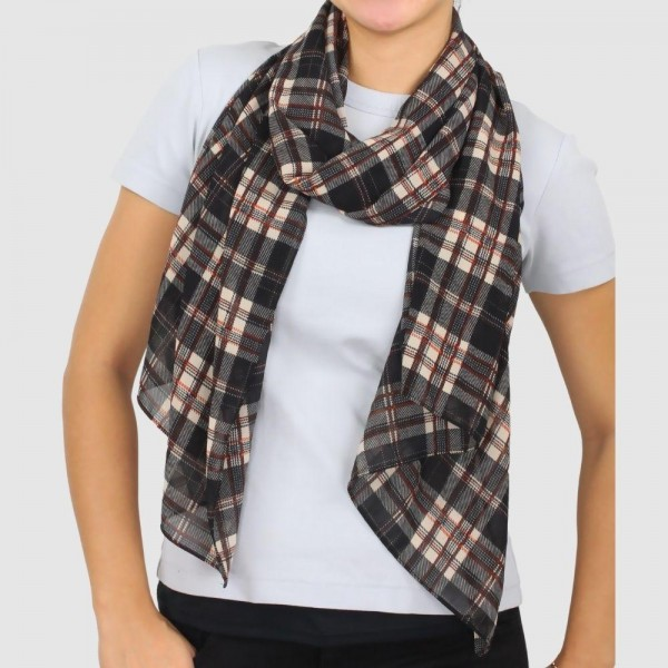 "Women's Lightweight Plaid Print Georgette Scarf.  - Approximately 27.5"" W x 67"" L  - 100% Polyester"