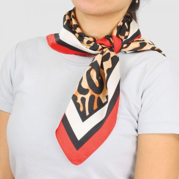 "Women's Lightweight Leopard Satin Square Scarf.  - Approximately 27.5"" x 27.5""  - 100% Polyester"