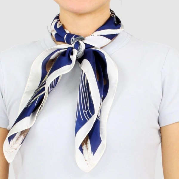 "Women's Lightweight Feather Print Satin Square Scarf.  - Approximately 27.5"" x 27.5""  - 100% Polyester"