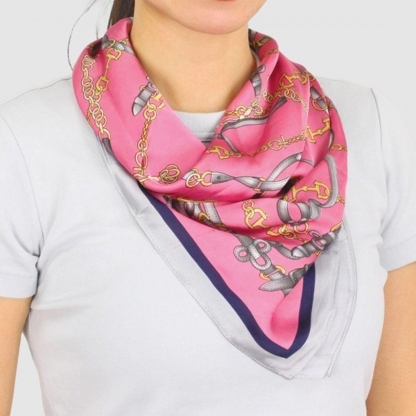 "Women's Lightweight Chain Print Satin Square Scarf.  - Approximately 27.5"" x 27.5""  - 100% Polyester"