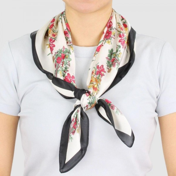 "Women's Lightweight Floral Print Satin Square Scarf.  - Approximately 27.5"" x 27.5""  - 100% Polyester"