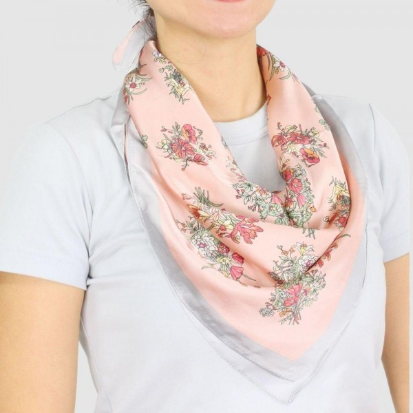 Wholesale women s Lightweight Floral Print Satin Square Scarf Polyester
