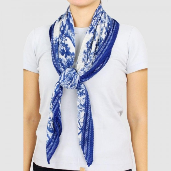 """Women's Lightweight Toile Pleated Scarf.  - Approximately 39' x 39""""  - 100% Polyester"""