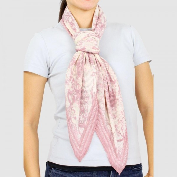 "Women's Lightweight Toile Pleated Scarf.  - Approximately 39' x 39""  - 100% Polyester"