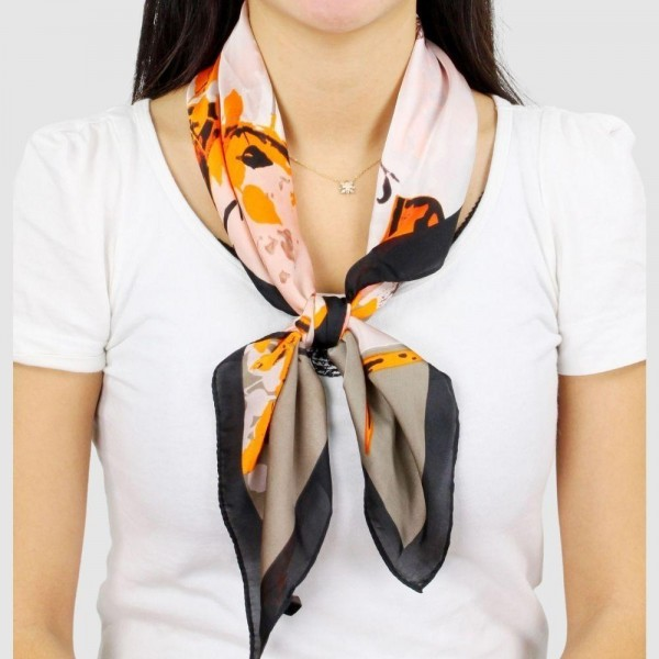 "Women's Lightweight Abstract Print Satin Scarf.  - Approximately 27.5"" x 27.5""  - 100% Polyester"