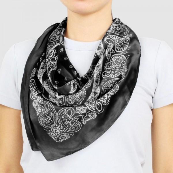 Wholesale women s Lightweight Bandana Print Satin Square Scarf W L Polyester