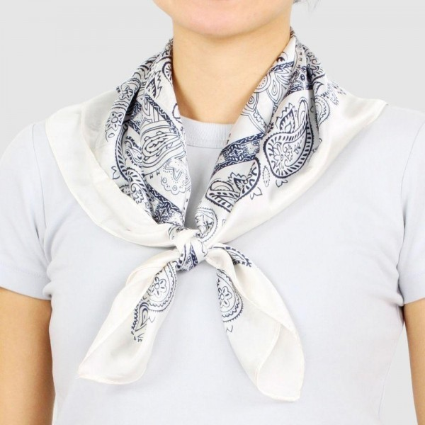 "Women's Lightweight Bandana Print Satin Square Scarf.  - Approximately 27.5"" W x 27.5"" L - 100% Polyester"