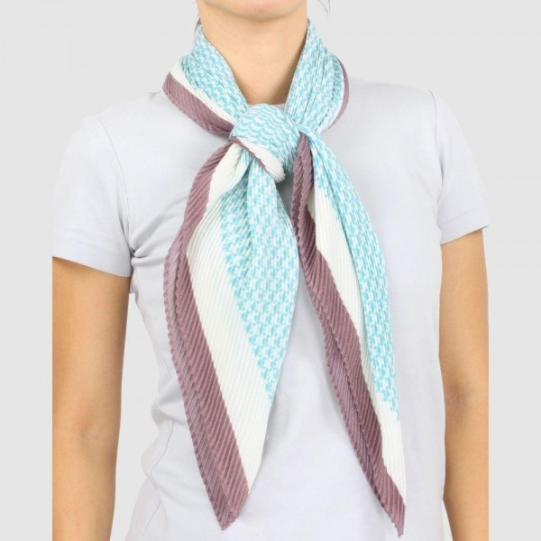 "Women's Lightweight Houndstooth Pleated Scarf.  - Approximately 39"" W x 39"" L  - 100% Polyester"